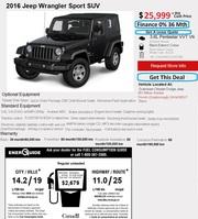 Jeep Wrangler Sport in Toronto