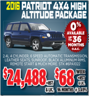 2016 Patriot 4X4 High Altitude Package Toronto
